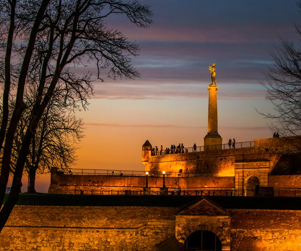 The Victor Monument on Kalemegdan in sunset